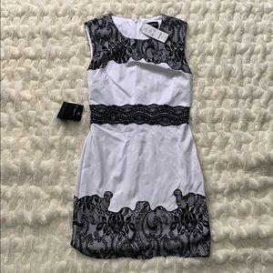 Bebe white lace ponte dress